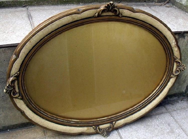 Antigua bandeja francesa luis xvi madera y cristal 1930