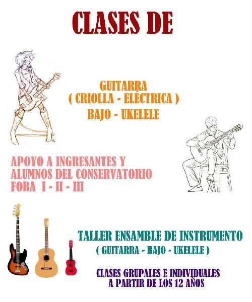 Clases de ukelele, bajo, guitarra, lenguaje musical.
