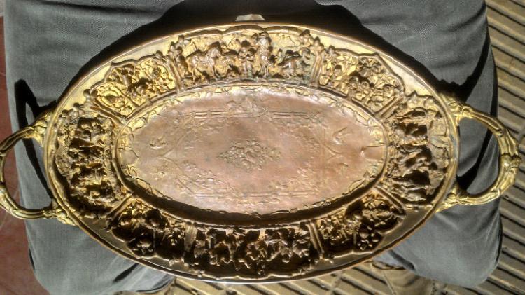 Antigua bandeja francesa de cobre bronce g.f paris art deco