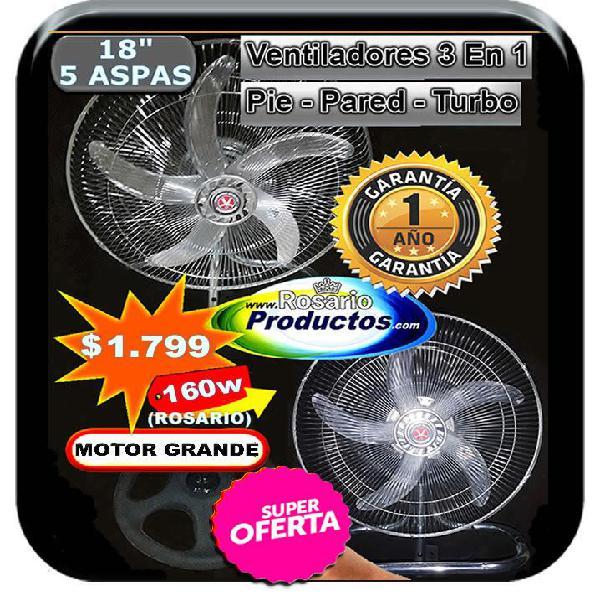Ventilador 18 pulg. 160 watts pie pared y turbo 1 año