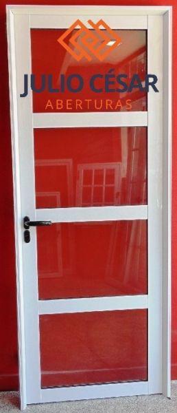 Puerta #25 vidrio repartido horizontal aluminio 80x200 ofert