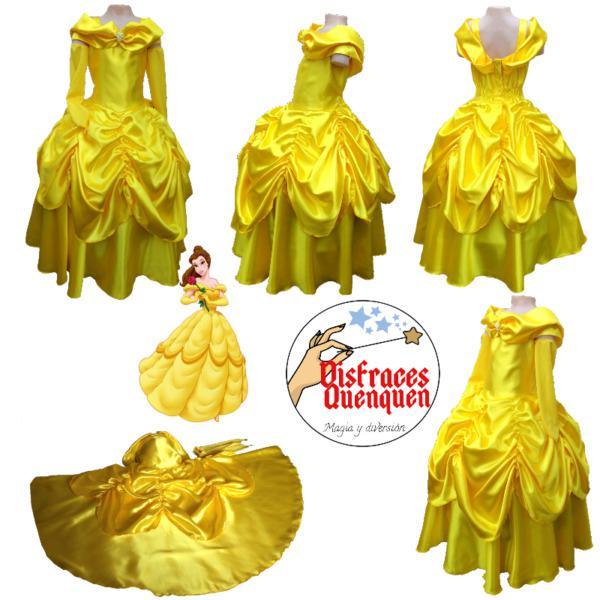 Vestido de princesa bella en raso para niñas.
