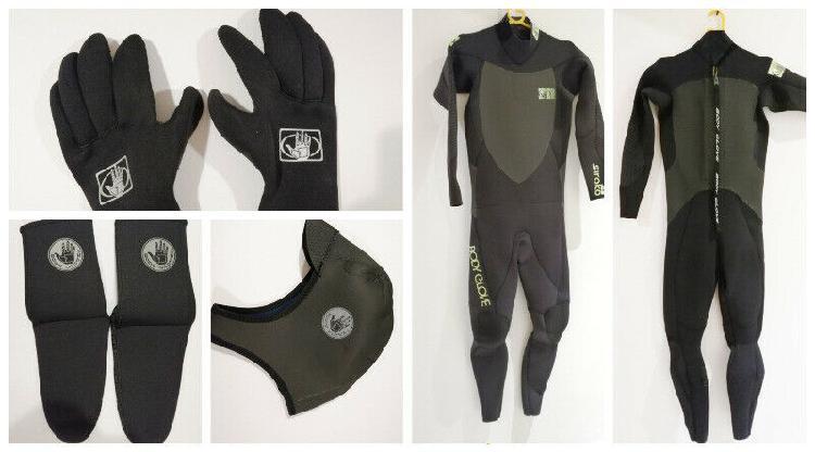Traje 4-3, guantes 3mm, capucha 3mm y medias de neoprene 3mm