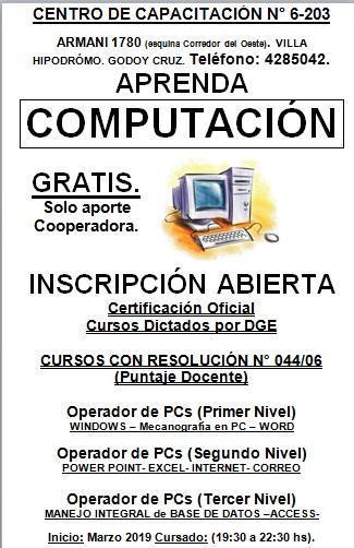 Cursos computación. operador de pc. dge. certificación
