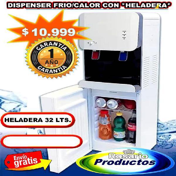 Dispenser heladera 32 lts. frio, calor garantía 1 año