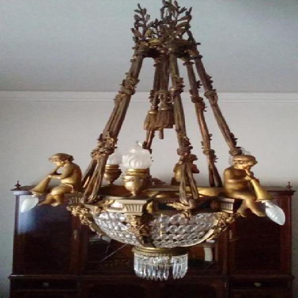 Araña francesa bronce y cristales