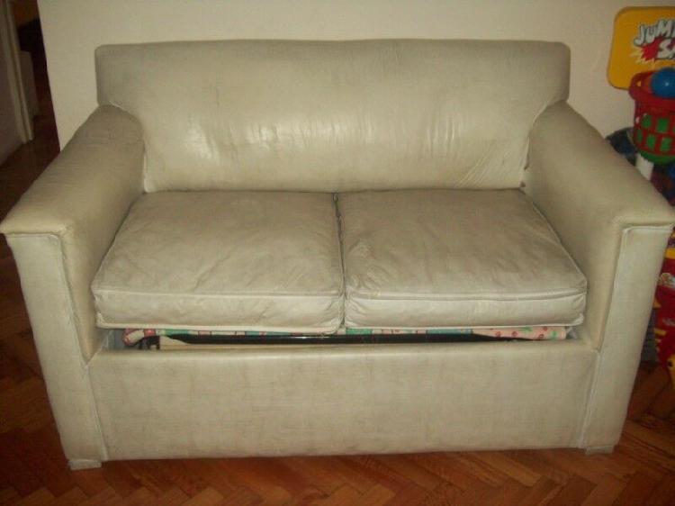 Urgente sillón ecocuero blanco con cama de 1 plaza colchón