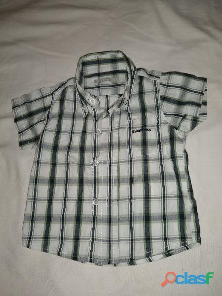 Camisa minimimo t m  cuadro verde gris blanco espalda 21cm perfecta
