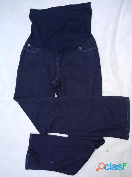 Pantalón liz lange maternity t10 jean elastizado negro nuevo