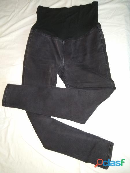 Pantalón life un progress maternidad 30 negro jean elastizado negro