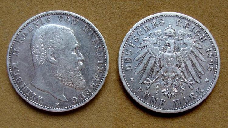 Moneda de 5 marcos de plata, wurtemberg, alemania 1895.