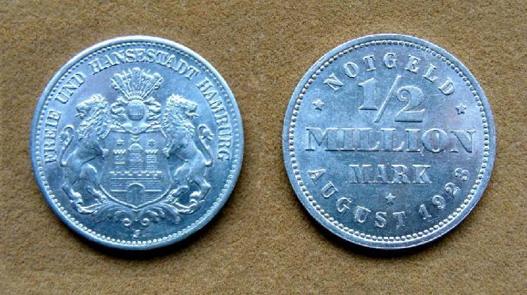 Moneda de ½ millón de marcos, alemania, hamburgo 1923