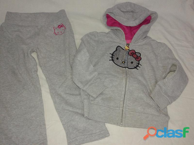 Conjunto hello kitty lentejuelas 24 m campera capucha+pantalon