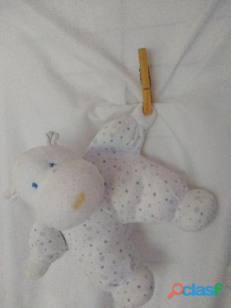 Peluche oso 25x25 blanco y celeste para pegar puerta dormitorio