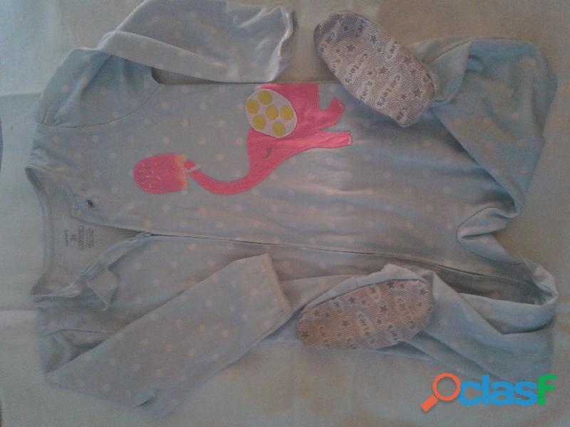 pijama carters talle 3 con pie antideslizante lunares elefante rojo