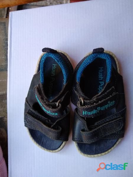 Sandalias hush puppies nro 22 cuero negra y azul perfecta