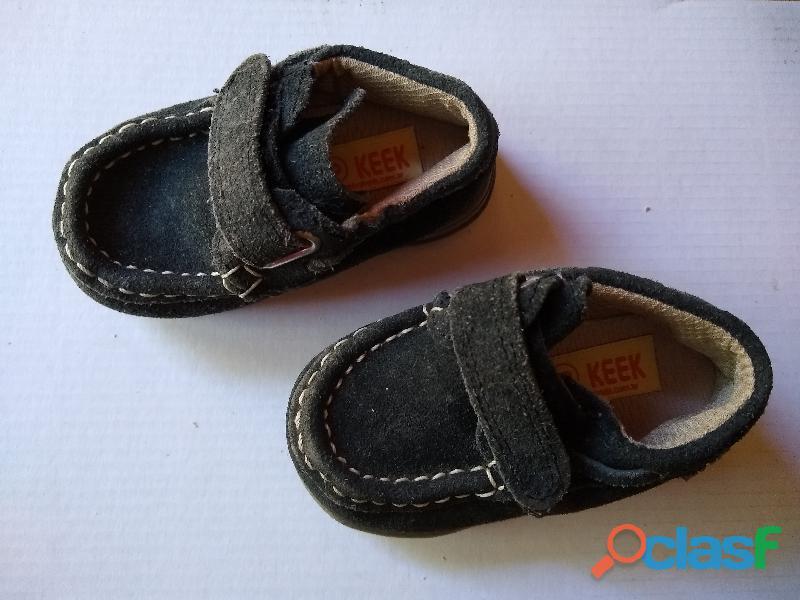 Zapato nautico mocasin keek 18 nuevo gamusa azul nuevo