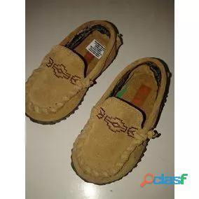 Zapato nautico mocasin keek 19 nuevo cuero gamusa beige perfect