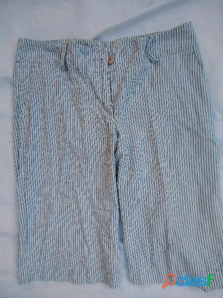 Pantalón bermuda rayitas gris cintura 41 tm perfecto