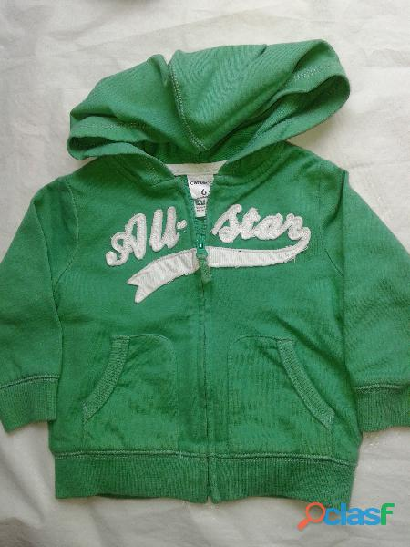 Campera hoddie carters 6m.all star verde algodon perfecta