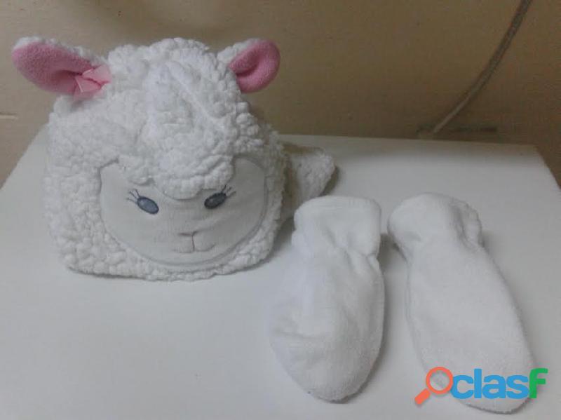 Gorro orejitas ovejita y guantes importado 12 18m perfecto