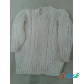 Pullovers tejido artesanal blanco 3 anod perfecto para 2 3 años