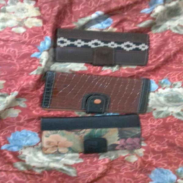 3 billeteras de cuero