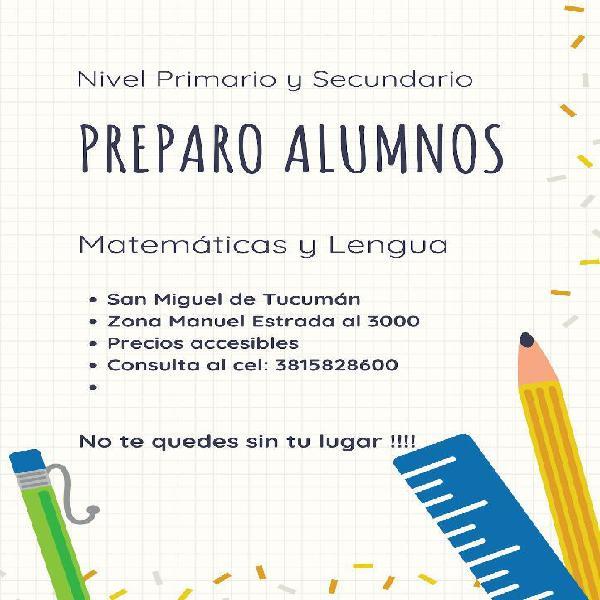 Preparo alumnos matemáticas y lengua