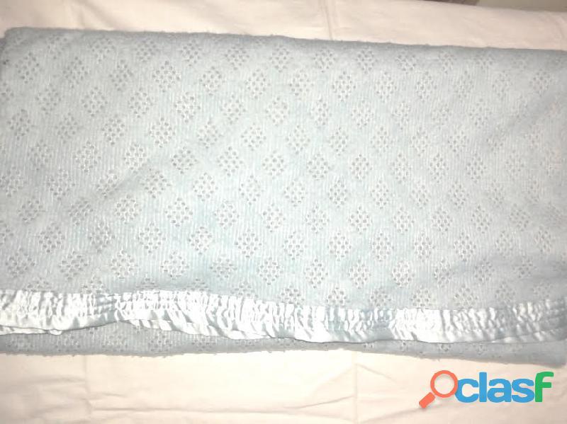 Manta tejido celeste borde con raso celeste 130x1400 perfec