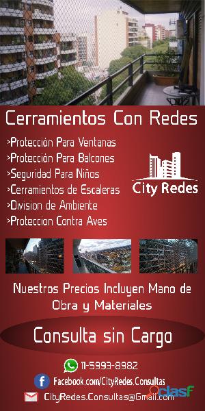 Cerramiento de balcones kit red niños mascotas en colegiales city redes