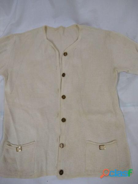 Traje de hilo beige saco manga corta+pollera recta retro