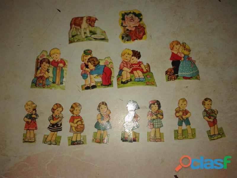 Figuritas antiguas 1955 con motivos de nenes,nenas, perro,flor