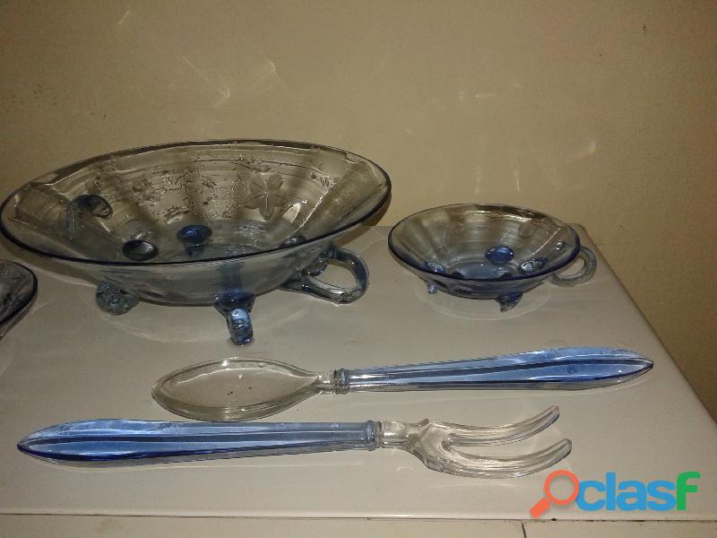 Fuente 6 compoteras tenedor cuchara cristal azul