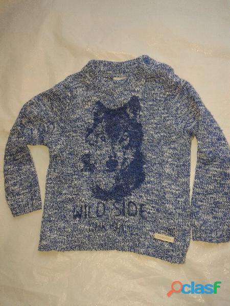 Sweaters cheeky 9 12mes tejido azul boton en hombro perfect