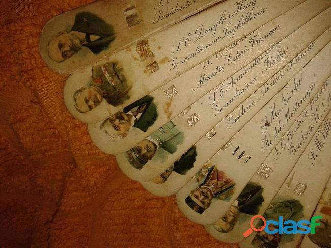 Abanico con imagenes de personalidadeseuropeas 1900 unico