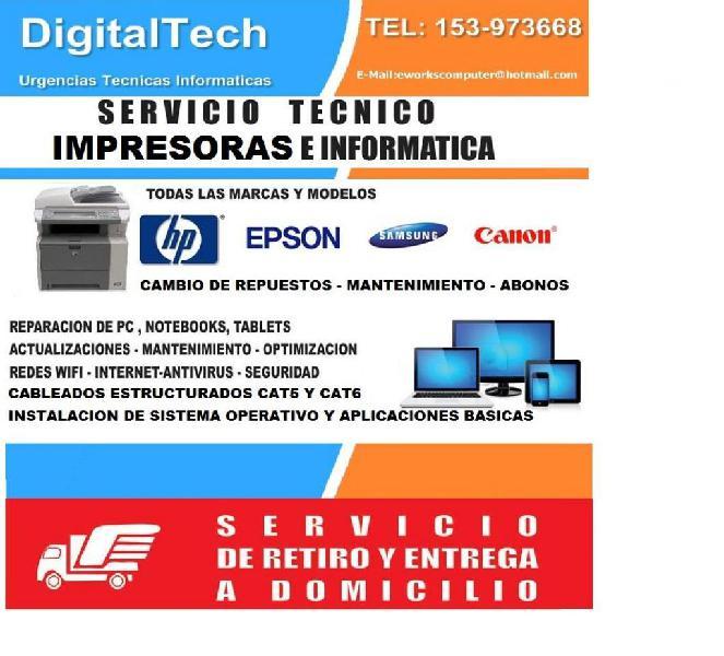 Servicio tecnico informatico notebooks pcs redes impresoras