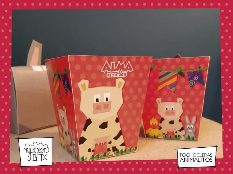 Souvenir personalizado caja pochoclera p3 evento infantil