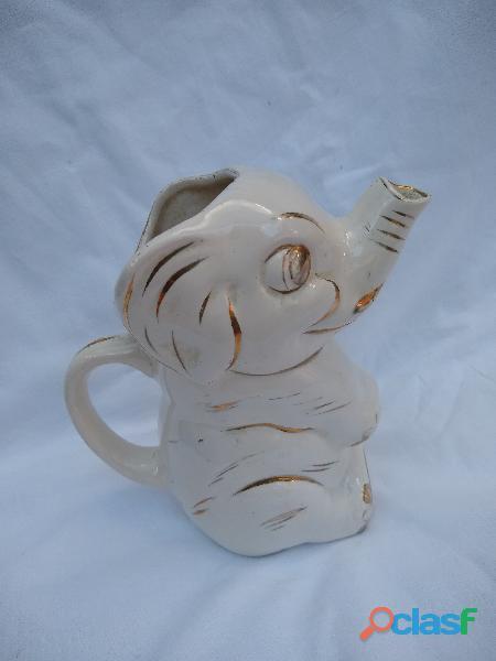 Jarra devvino forma elefante blanco y dorado antigua 15x9cm