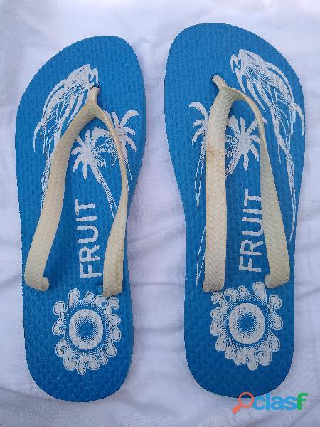 Ojotas tipo havaianas 40 41 color azul francia largo 26cm nueva