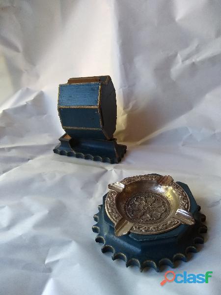 Cenicero y fosforera artesanal muy antigua