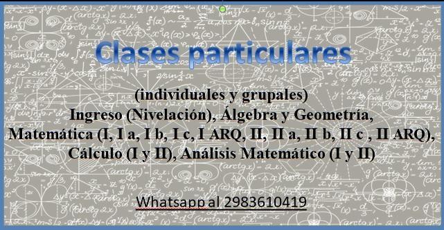 Clases particulares de matemática nivel secundario y