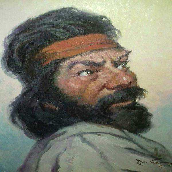 Oleo de enrique mc grech. autografiado.pintor de la