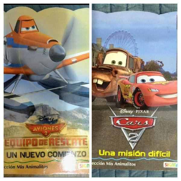 2 libros infantiles disney cars aviones