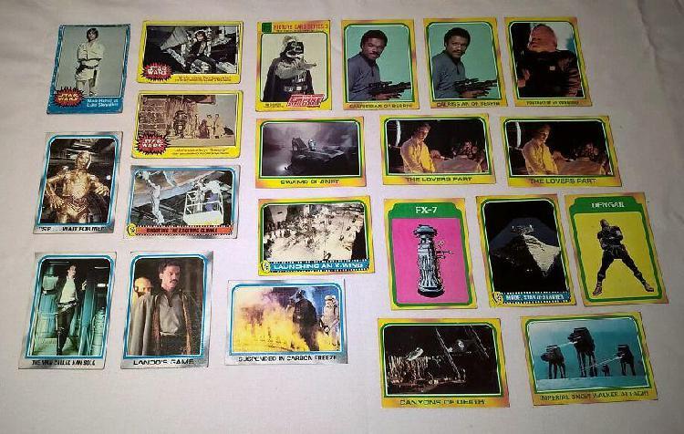 Lote de 21 figuritas topps cards usa de star wars y el