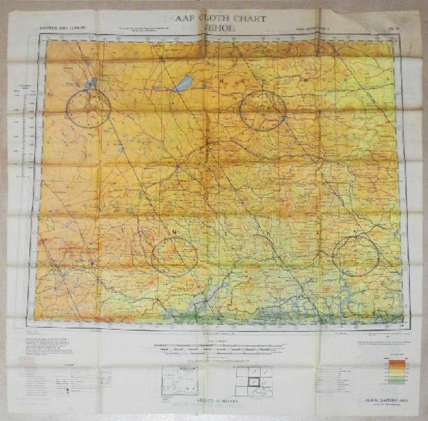 Mapa aaf cloth chart piloto avion war usa vs japon