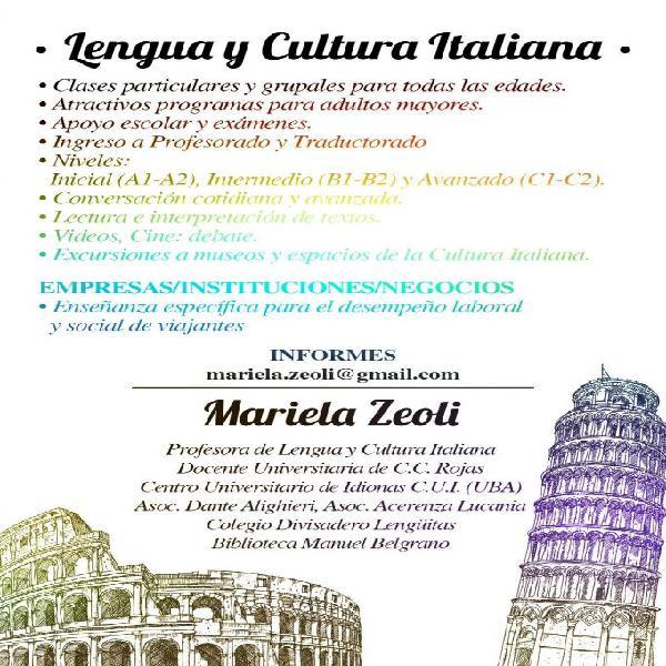Profesora de lengua y cultura italiana clases online