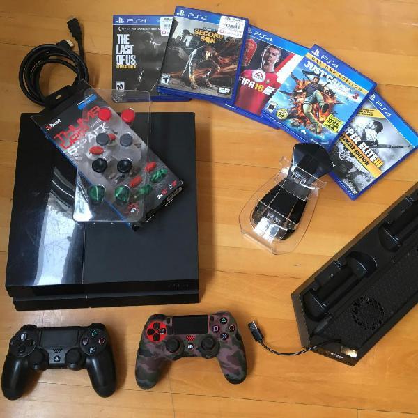 Ps4, 2 joysticks, juegos, accesorios...