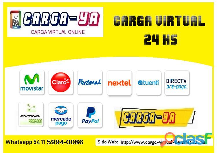 Carga virtual para celulares y tv prepaga 1500 pesos