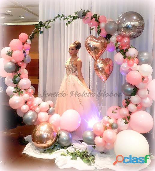 Decoracion con globos, globos helio, globo burbuja, globo confetti