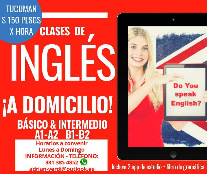 Clases de ingles particulares 150 pesos/hora